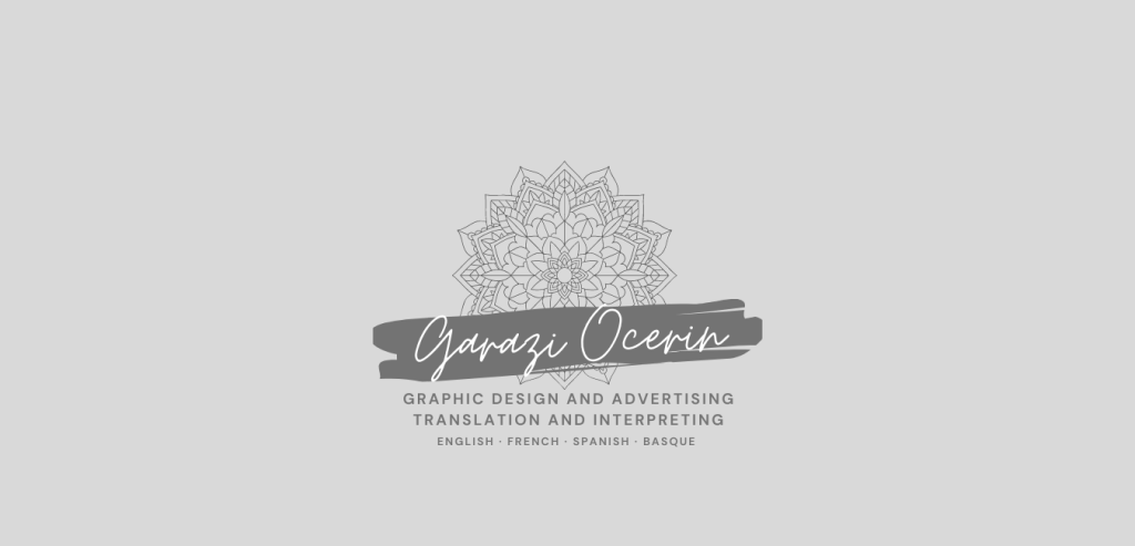 """Logo in English: a mandala appears and underneath in handwritten typography it can be read """"Garazi Ocerin. Graphic design and advertising. Translation and interpreting. English, French, Spanish and Basque""""."""